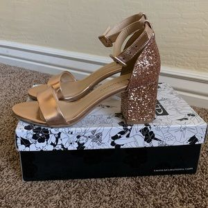 "Chinese Laundry Rose Gold ""Jody"" Sequin Heel"